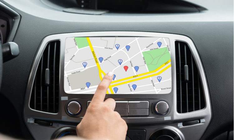 Navigation system in the car using GPS tracking