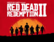 poster of the Red Dead Redemption 2 game with red background, Wild West cowboys and logo