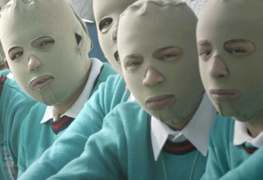 Kids wearing face masks in documentary Children of the Narco zone