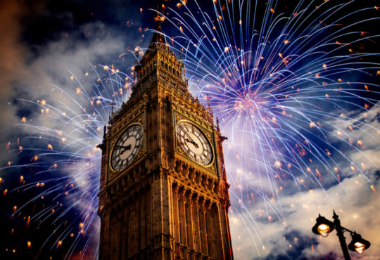 Big Ben in Londn, UK, and New Year's fireworks