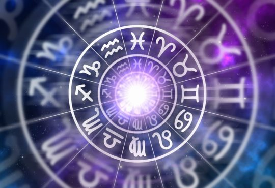 circle of zodiac signs on purple background