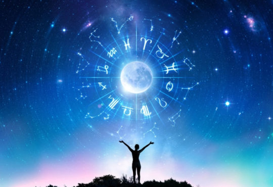 starsigns in front of the blue sky with small black silhouette reaching towards them