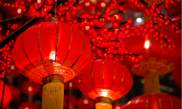 Red lanterns during Chinese New Year Parades