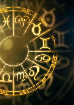 Golden circle with star signs