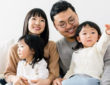 family portrait of Marie Kondo And Takumi Kwahara with two daughters