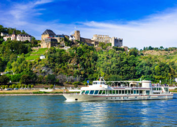Romantic river cruises over Rhein with famous medieval castles